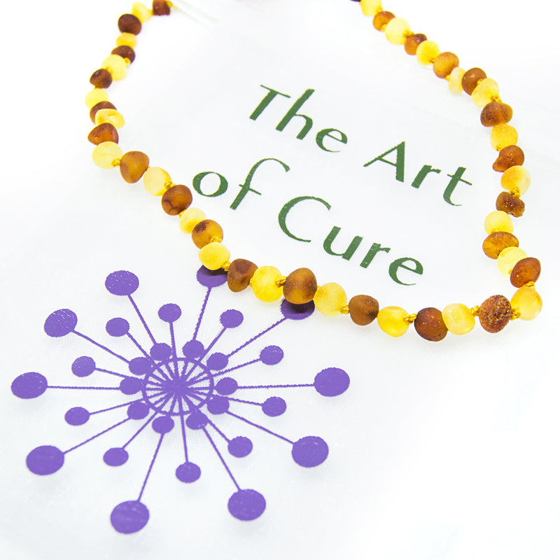 (12.5in) Certified Baltic Amber Teething Necklace for Baby (Raw Honey/Lemon) -  - The Art of Cure