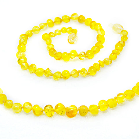(12.5in) Certified Baltic Amber Teething Necklace for Baby - Lemon