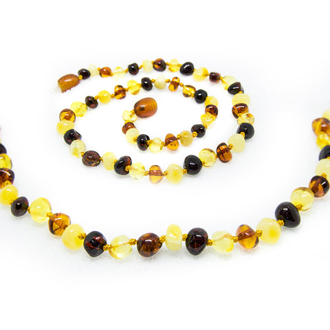 The Art of Cure Original Baltic Amber Necklace- Polished Handmade (Multicolored) for boy or girl – 12 - 12.5 Inches size