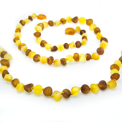 (12.5in) Certified Baltic Amber Teething Necklace for Baby - Raw Honey/Lemon