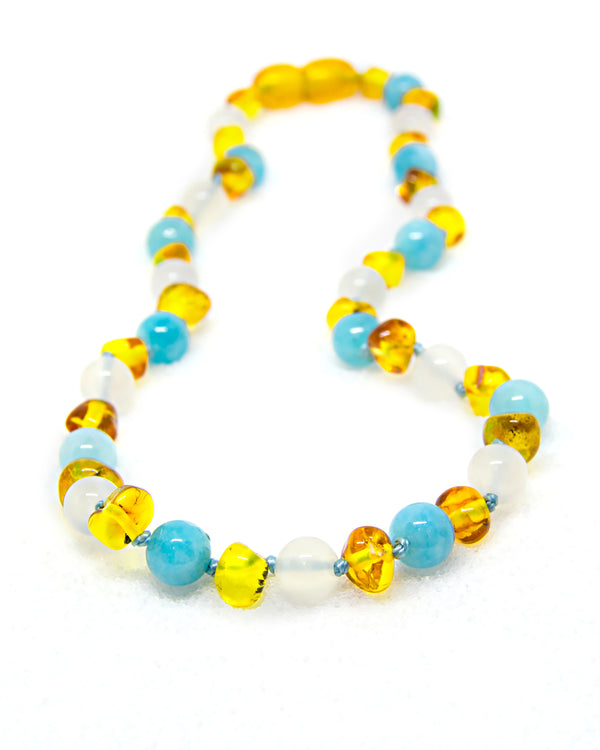 (12.5in) Semi-Precious & Certified Baltic Amber Teething Necklace for Baby - Honey / White Agate / Aquamarine -  - The Art of Cure