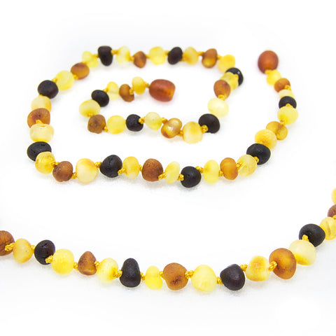 (12.5in) *Premium* Baltic Amber Teething Necklace for Baby - Raw MultiColor