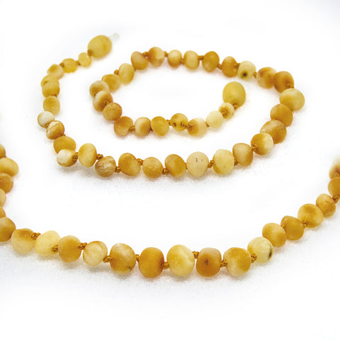 (12.5in) Certified Baltic Amber Teething Necklace for Baby (Raw Butter) - Anti-inflammatory