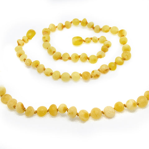 The Art of Cure Original Baltic Amber Necklace- Polished Handmade (Raw Butterscotch) for boy or girl – 12 - 12.5 Inches size