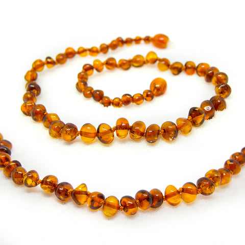 The Art of Cure Original Baltic Amber Teething Necklace- Polished Organic & Handmade (honey cognac ) for boy or girl - 12.5 Inches size