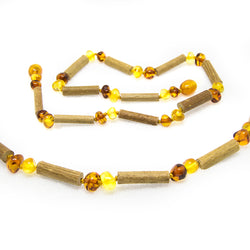 (12.5 in.) Baltic Amber & Hazelwood Teething Necklace - Unisex - 1x1 -  - The Art of Cure