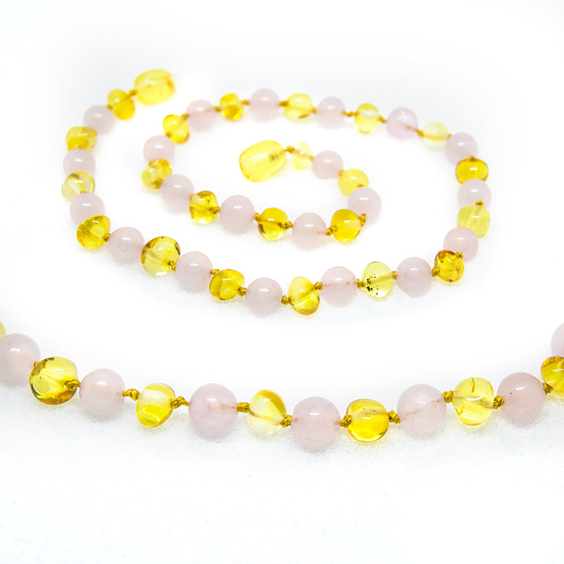 (12.5in) Semi-Precious & Certified Baltic Amber Teething Necklace for Baby - Rose Quartz/Lemon -  - The Art of Cure
