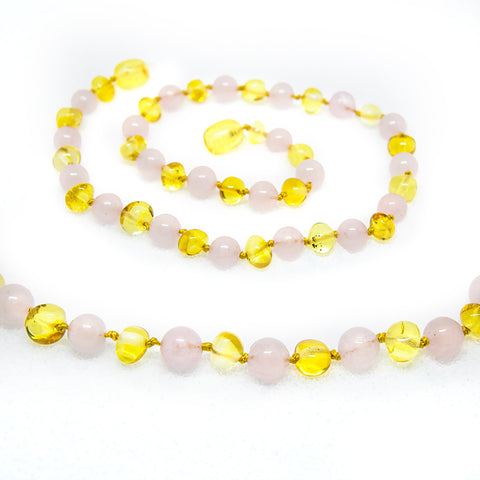 (12.5in) Semi-Precious & Certified Baltic Amber Teething Necklace for Baby - Rose Quartz/Lemon