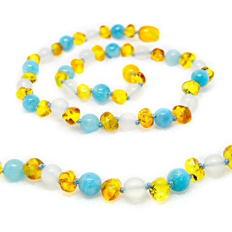 (12.5in) Semi-Precious & Certified Baltic Amber Teething Necklace for Baby - Honey / White Agate / Aquamarine