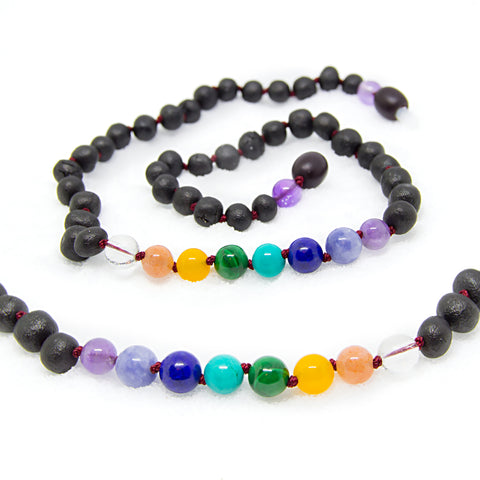(12.5 in) Baltic Amber & Amethyst Light, Quartz White, Sunstone, Blue Aquamarine, Yellow Aventurine, Green Malachite, Turquoise, Lapis Lazuli Teething Necklace