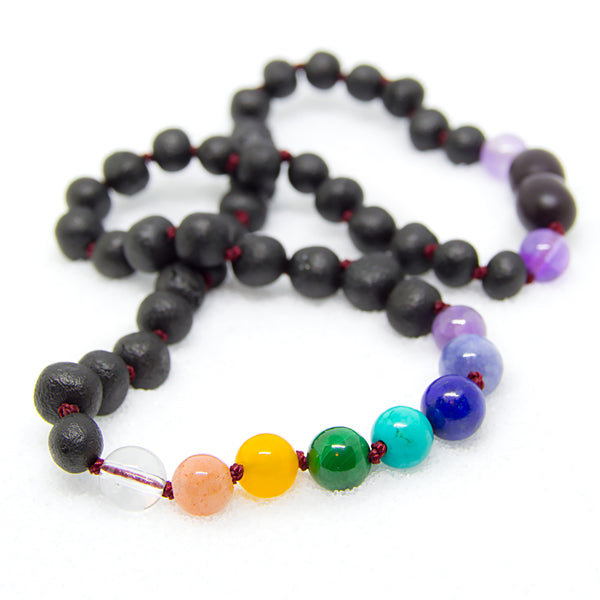 (12.5 in) Baltic Amber & Amethyst Light, Quartz White, Sunstone, Blue Aquamarine, Yellow Aventurine, Green Malachite, Turquoise, Lapis Lazuli Teething Necklace - Adult Healing - The Art of Cure