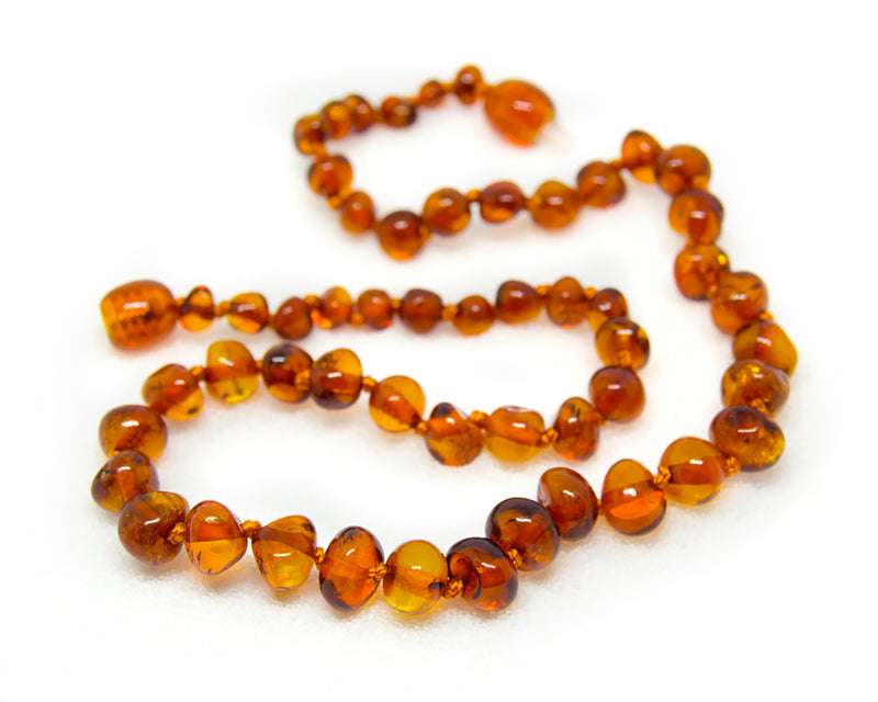 The Art of Cure Original Baltic Amber Teething Necklace- Polished Organic & Handmade (honey cognac ) for boy or girl - 12.5 Inches size -  - The Art of Cure