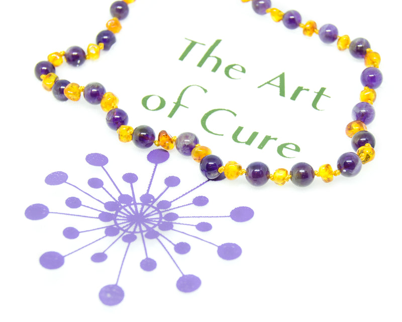 FLASH SALE - The Original Semi-Precious & Certified Baltic Amber Teething Necklace- Amethyst/Honey - Adult Healing - The Art of Cure