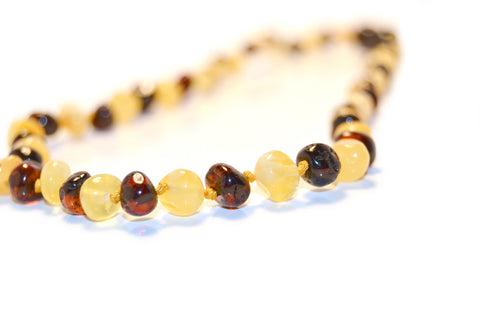 (12.5in) Certified Baltic Amber Teething Necklace for Baby - Cognac/Milk - Anti-Inflammatory