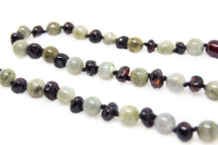 (12.5in) Semi-Precious & Certified Baltic Amber Teething Necklace for Baby - Cherry/Labradorite