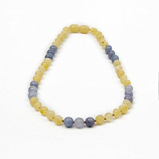 (12.5 in) Certified Baltic Amber & Semi-Precious Aquamarine Teething Necklace (aquamarine) - Adult Healing - The Art of Cure