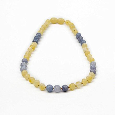 (12.5 in) Certified Baltic Amber & Semi-Precious Aquamarine Teething Necklace (aquamarine)