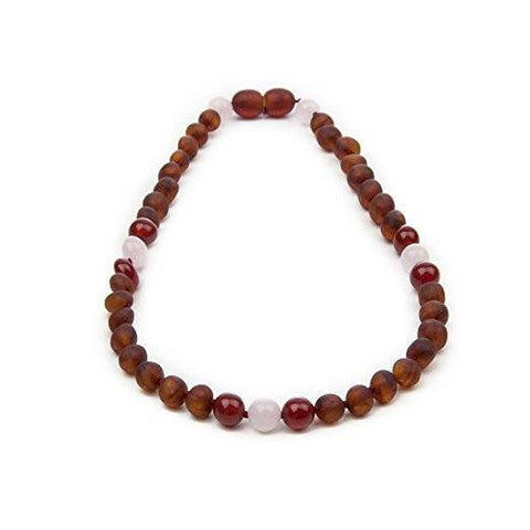 (12.5 in) Certified Baltic Amber & Semi-Precious Rose Quartz Teething Necklace - Red