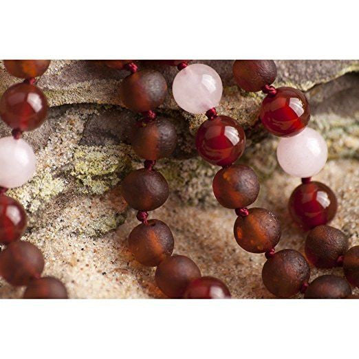 (12.5 in) Certified Baltic Amber & Semi-Precious Rose Quartz Teething Necklace - Red - Adult Healing - The Art of Cure