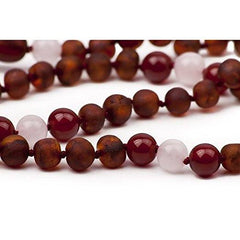 Adult Healing - (12.5 In) Certified Baltic Amber & Semi-Precious Rose Quartz Teething Necklace - Red
