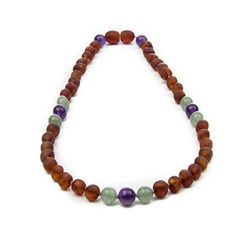 (12.5 in) Certified Raw Cognac Baltic Amber & Semi-Precious Aventurine, Amethyst Teething Necklace - Adventurine