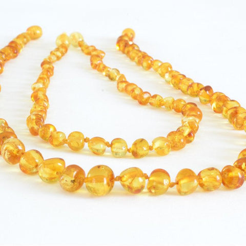 The Art of Cure Original Baltic Amber Necklace set for Mom & Child - Polished Handmade (Lemon) Unisex – 17in & 12.5 Inches