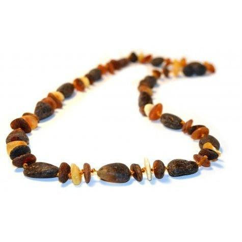 (17in) Certified Baltic Amber Necklace - Raw Multi Chip/Bean - Adult Healing - The Art of Cure