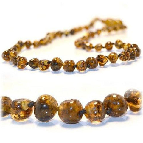 (25in) Certified Baltic Amber Adult Necklace - Green
