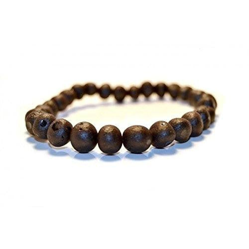 Adult Healing - (7.5in) Certified Baltic Amber Adult Bracelet - Raw Black Cherry