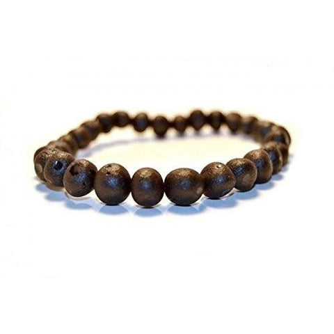 (7.5in) Certified Baltic Amber Adult Bracelet - Raw Black Cherry