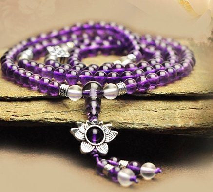 Healing Jewelry & Mala Meditation Beads (108 beads on a strand) Amethyst & Tibetian Silver Flower