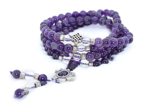 Healing Jewelry & Mala Meditation Beads (108 beads on a strand) Amethyst & White Crystal