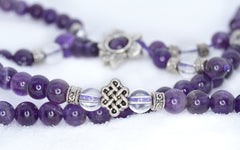Adult Healing - Healing Jewelry & Mala Meditation Beads (108 Beads On A Strand) Amethyst & White Crystal