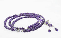 Healing Jewelry & Mala Meditation Beads (108 beads on a strand) Amethyst & White Crystal - Adult Healing - The Art of Cure