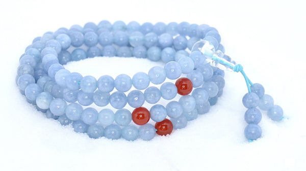 Healing Jewelry & Mala Meditation Beads (108 beads on a strand) Aquamarine - Adult Healing - The Art of Cure