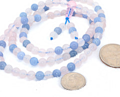 Adult Healing - Healing Jewelry & Mala Meditation Beads (108 Beads On A Strand) Aquamarine & Rose Quartz Crystal