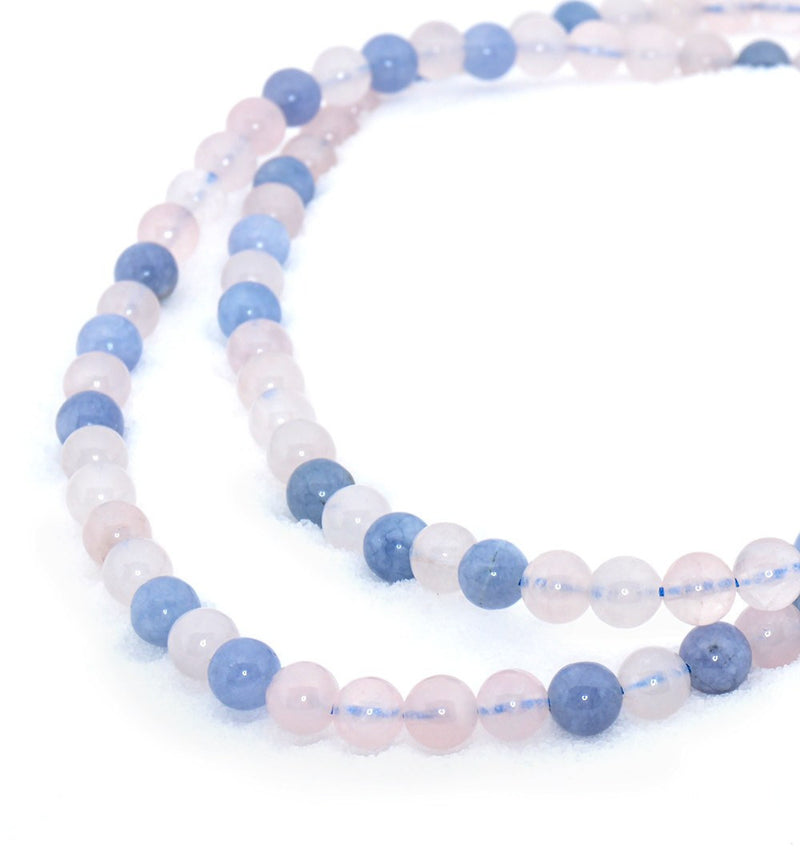 Healing Jewelry & Mala Meditation Beads (108 beads on a strand) Aquamarine & Rose Quartz Crystal - Adult Healing - The Art of Cure