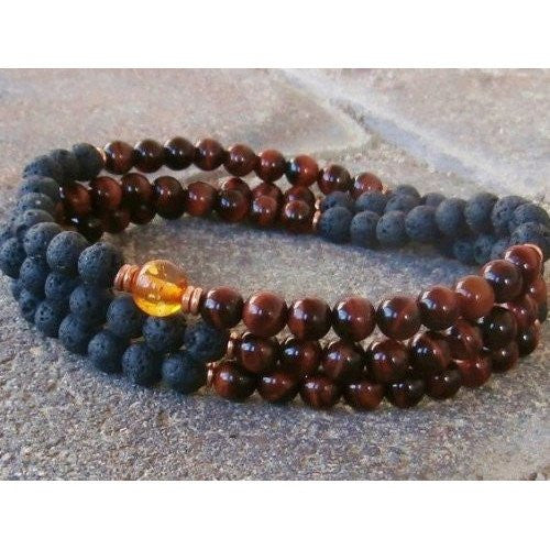 Healing Jewelry & Mala Meditation Beads (108 beads on a strand) Black Lava & Tigers Eye - Adult Healing - The Art of Cure