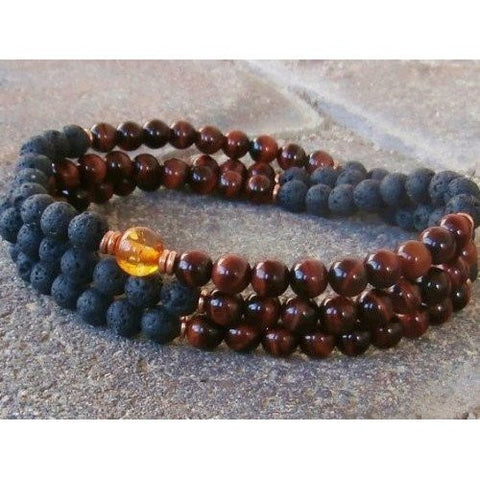 Healing Jewelry & Mala Meditation Beads (108 beads on a strand) Black Lava & Tigers Eye