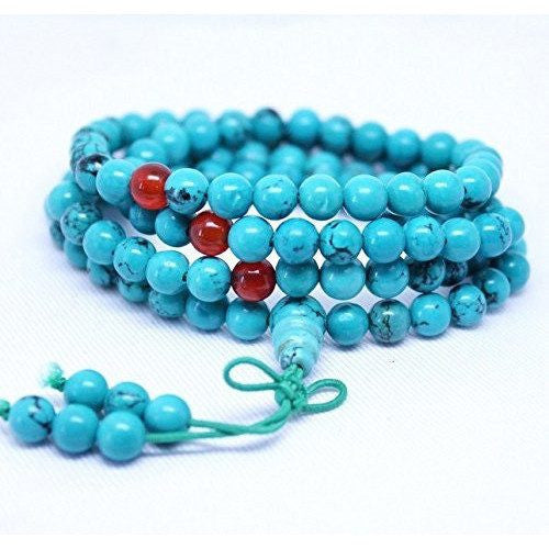 Healing Jewelry & Mala meditation beads (108 beads on a strand) Blue Turquoise - Adult Healing - The Art of Cure