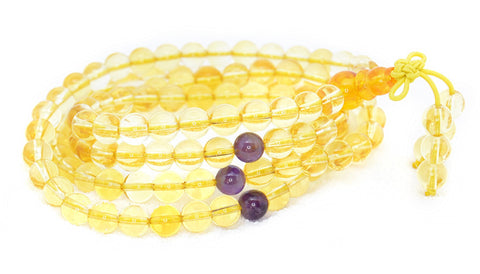 Healing Jewelry & Mala Meditation Beads (108 beads on a strand) Citrine