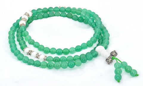 Healing Jewelry & Mala meditation beads (108 beads on a strand) Green Agate or Moss Agate