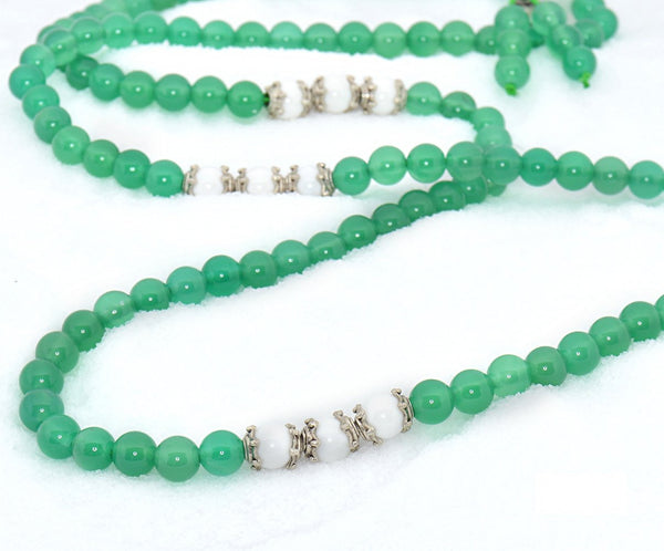 Healing Jewelry & Mala meditation beads (108 beads on a strand) Green Agate or Moss Agate - Adult Healing - The Art of Cure