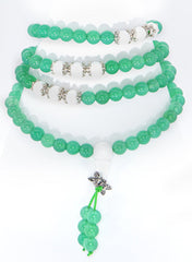 Adult Healing - Healing Jewelry & Mala Meditation Beads (108 Beads On A Strand) Green Agate Or Moss Agate