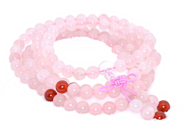 Healing Jewelry & Mala Meditation Beads (108 beads on a strand) Pink Rose Quartz - Adult Healing - The Art of Cure