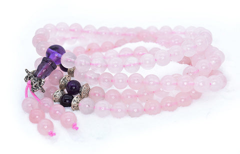 Healing Jewelry & Mala Meditation Beads (108 beads on a strand) Pink Rose Quartz & Amethyst