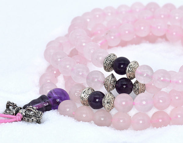 Healing Jewelry & Mala Meditation Beads (108 beads on a strand) Pink Rose Quartz & Amethyst - Adult Healing - The Art of Cure