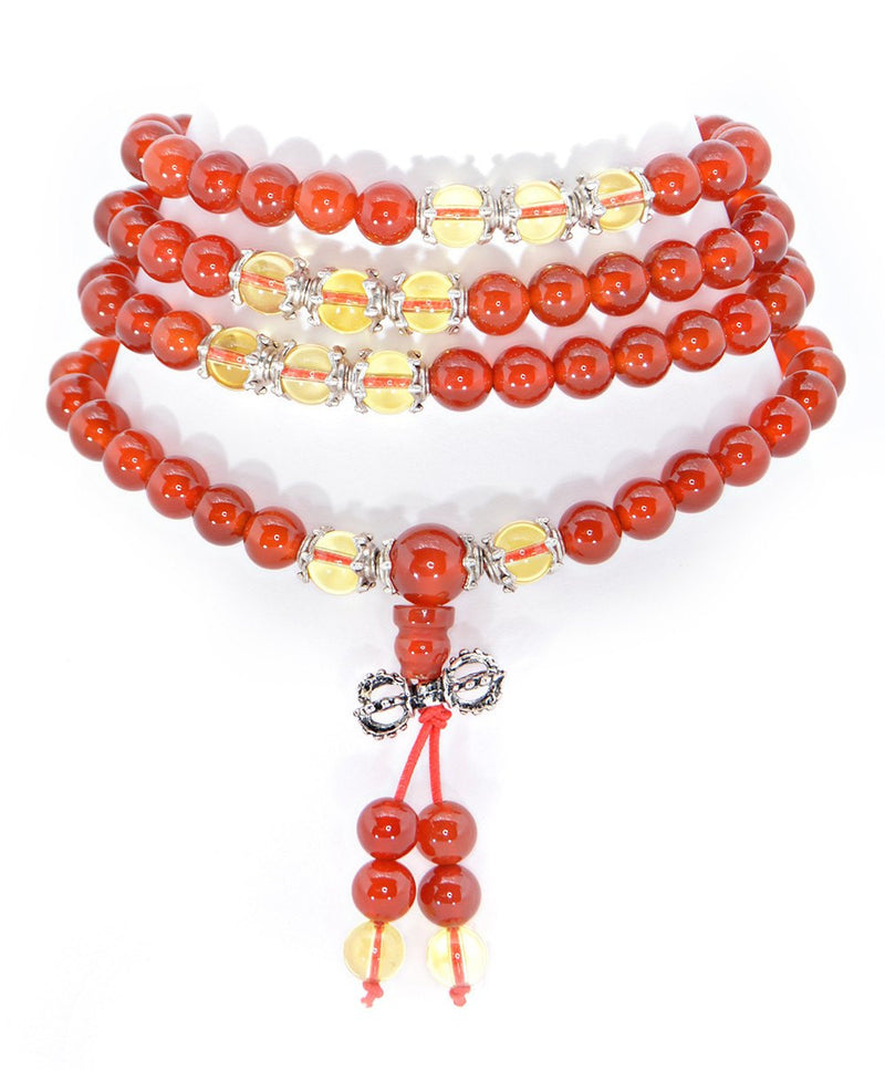 Healing Jewelry & Mala Meditation Beads (108 beads on a strand) Red Agate - Adult Healing - The Art of Cure