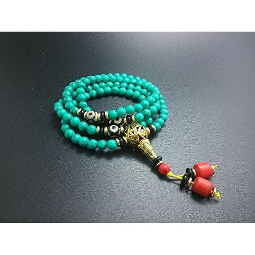 Healing Jewelry & Mala meditation beads (108 beads on a strand) Tibetan Green Turquoise - Adult Healing - The Art of Cure