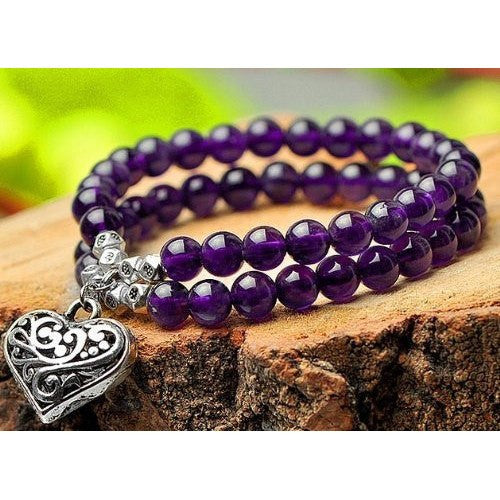 Healing Jewelry & Mala meditation beads (14in) Amethyst & Tibetian Silver - Adult Healing - The Art of Cure